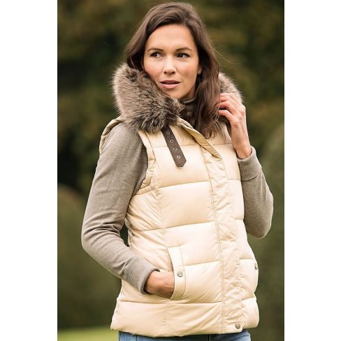 Baleno Beverly Quilted Gilet with Fur Collar