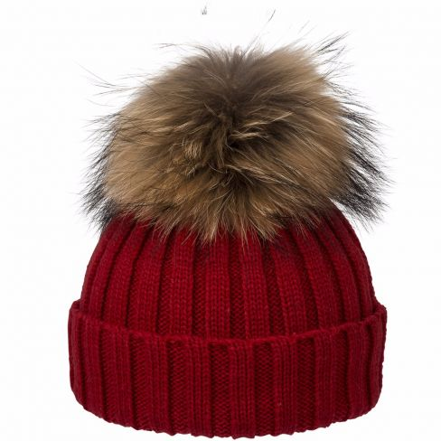 Wool Beanie with Racoon Pompom Navy