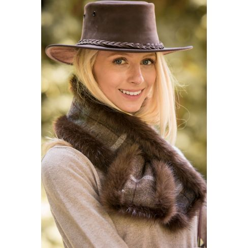 Luxury Faux Fur Neckwarmer Brown Tweed