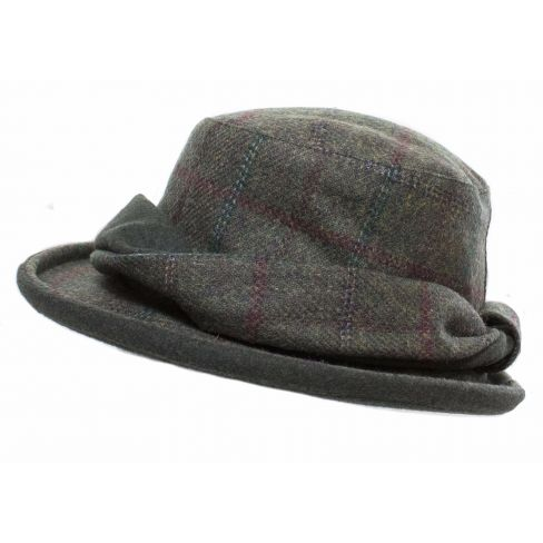 Tweed Hat Forest Green / Wine