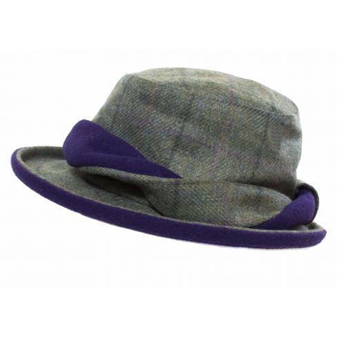 Tweed Hat Forest Green/Wine