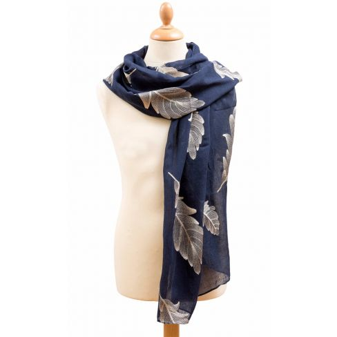 Big Feather Scarf Navy