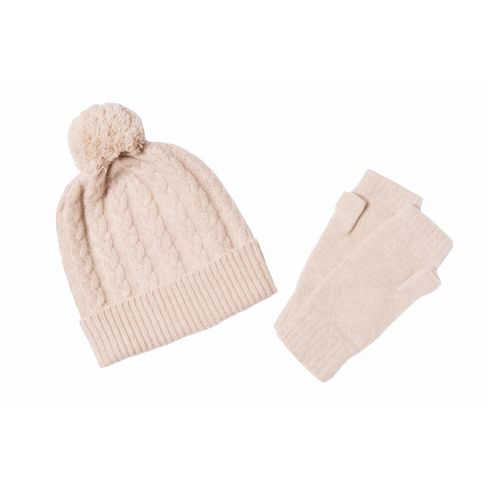 Lambswool Mitts and Beanie Set Wine