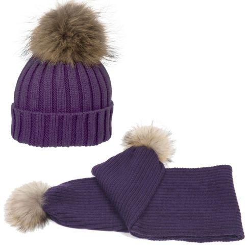 Wool Pom Pom Beanie and Scarf Set - Purple