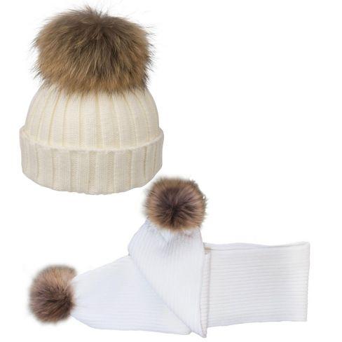 Wool Pom Pom Beanie and Scarf Set - White