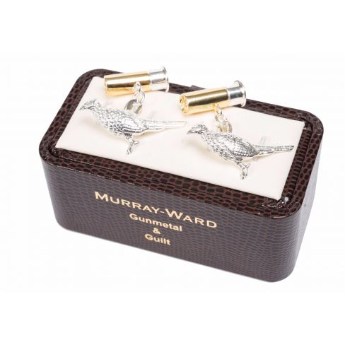 Pheasant and Cartridge Cufflinks Gunmetal and Gilt