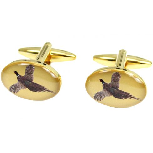 Country Cufflinks Flying Pheasant