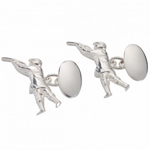 Sterling Silver Cufflinks - Man & Gun