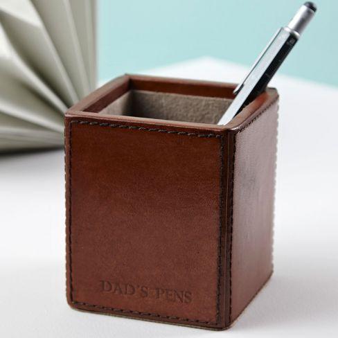 Leather Square Pen Holder