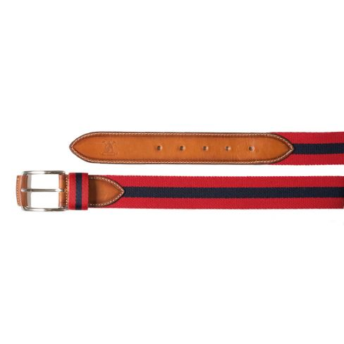 Smart Striped Stretch Belt - Red/Navy