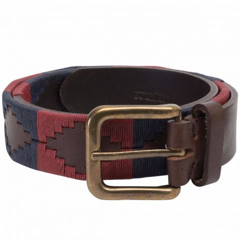 Men's Polo Belt - Burgundy/Navy