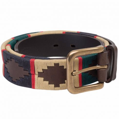 Men's Polo Belt - Navy/Cream/Green