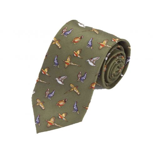 Silk Tie Green Game Birds