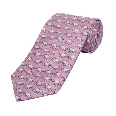 Silk Tie Bryn Parry Elephants Pink