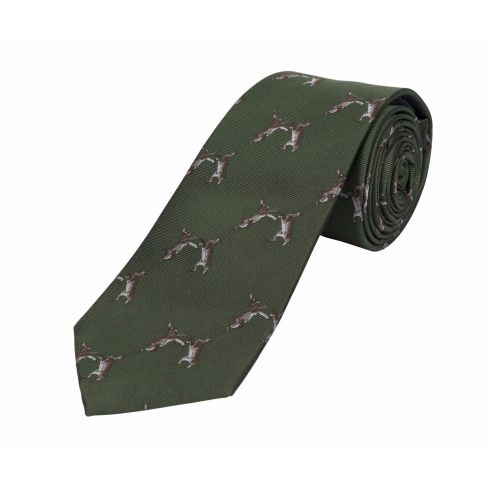Woven Country Silk Tie Hare - Green