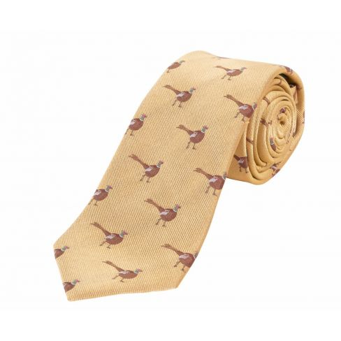 Woven Silk Tie Standing Pheasant Gold