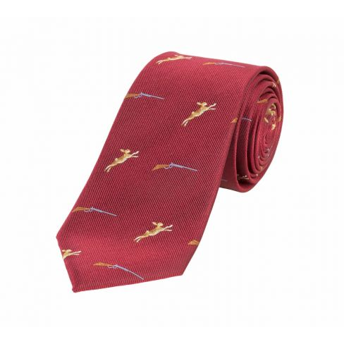 Woven Silk Tie Guns and Hares Red
