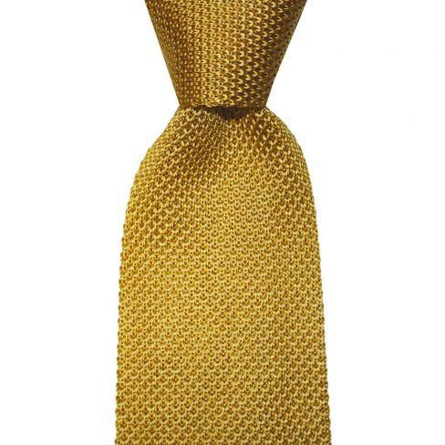 Knitted Silk Tie - Gold