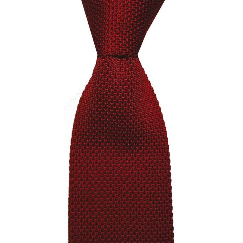 Knitted Silk Tie - Wine