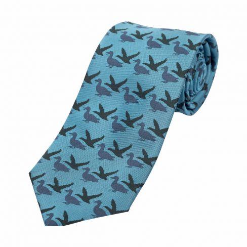 Luxury Woven Tie Ducks Blue
