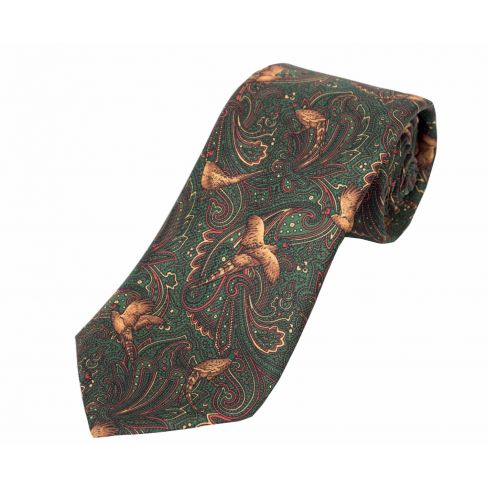 Pheasant and Paisley Silk Tie Green