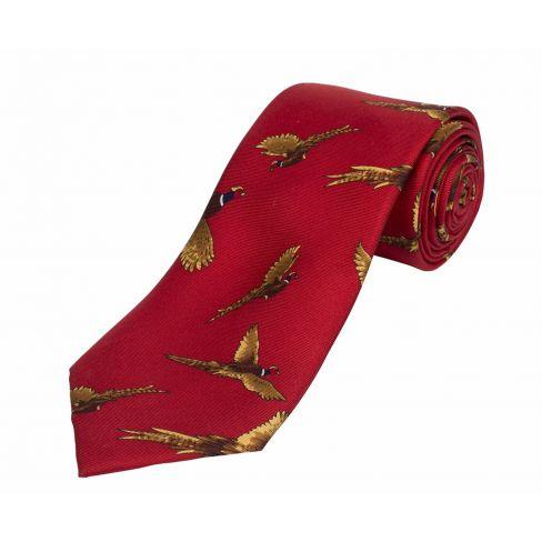 Silk Tie Flying Pheasant - Red