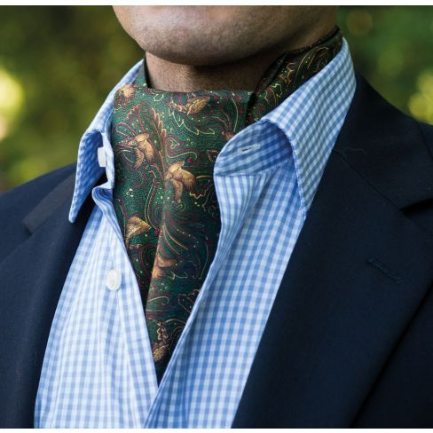 Pheasant & Paisley Silk and Cotton Cravat - Green