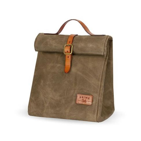 Waxed Cotton Insulated Picnic Bag - Tobaco
