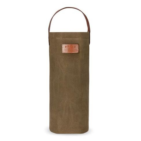 Waxed Canvas Insulated Bottle Bag - Tobacco
