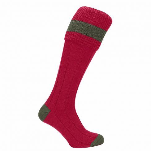 Kids Contrast Shooting Socks Ruby/Olive