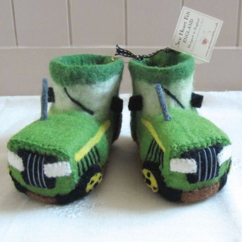 Kids Felt Slippers Tractor