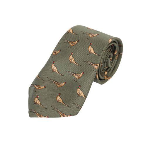 Kids Silk Tie Green Pheasant