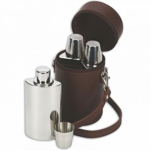 Leather 6oz Travel Bar set
