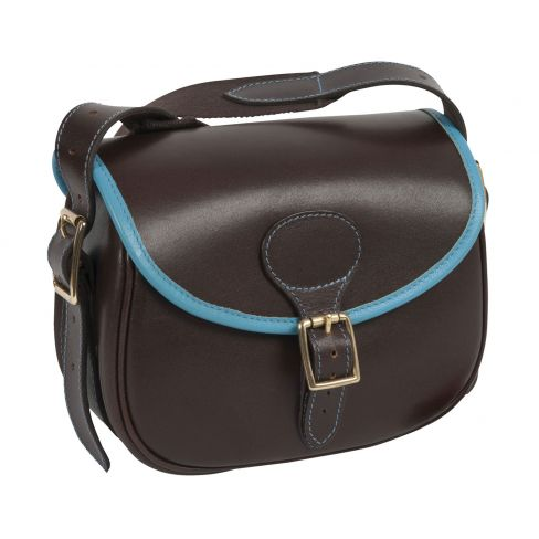 Ladies Dark Leather Cartridge Bag