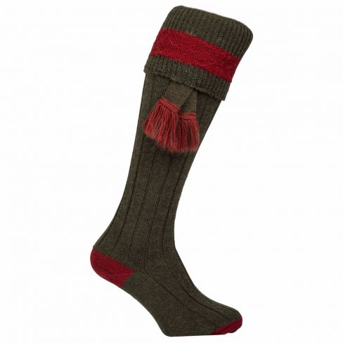 Contrast Pure Wool Shooting Socks - Olive
