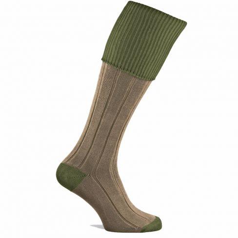Dorset Contrast Cotton Shooting Socks Moss