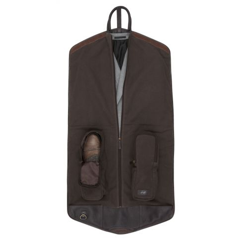 Leather and Canvas Suit Carrier