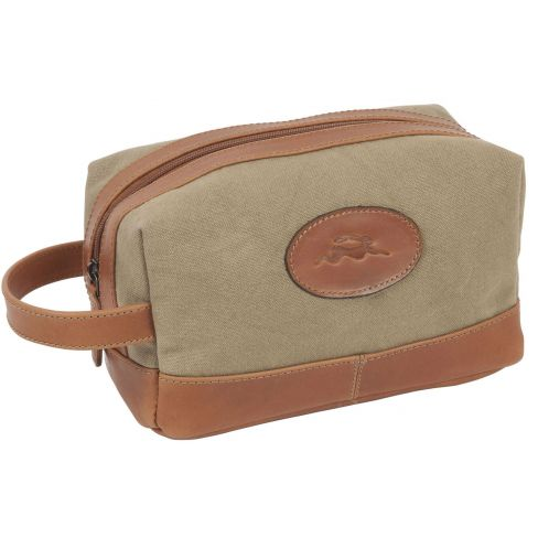 Tan and Khaki Leather & Canvas Washbag