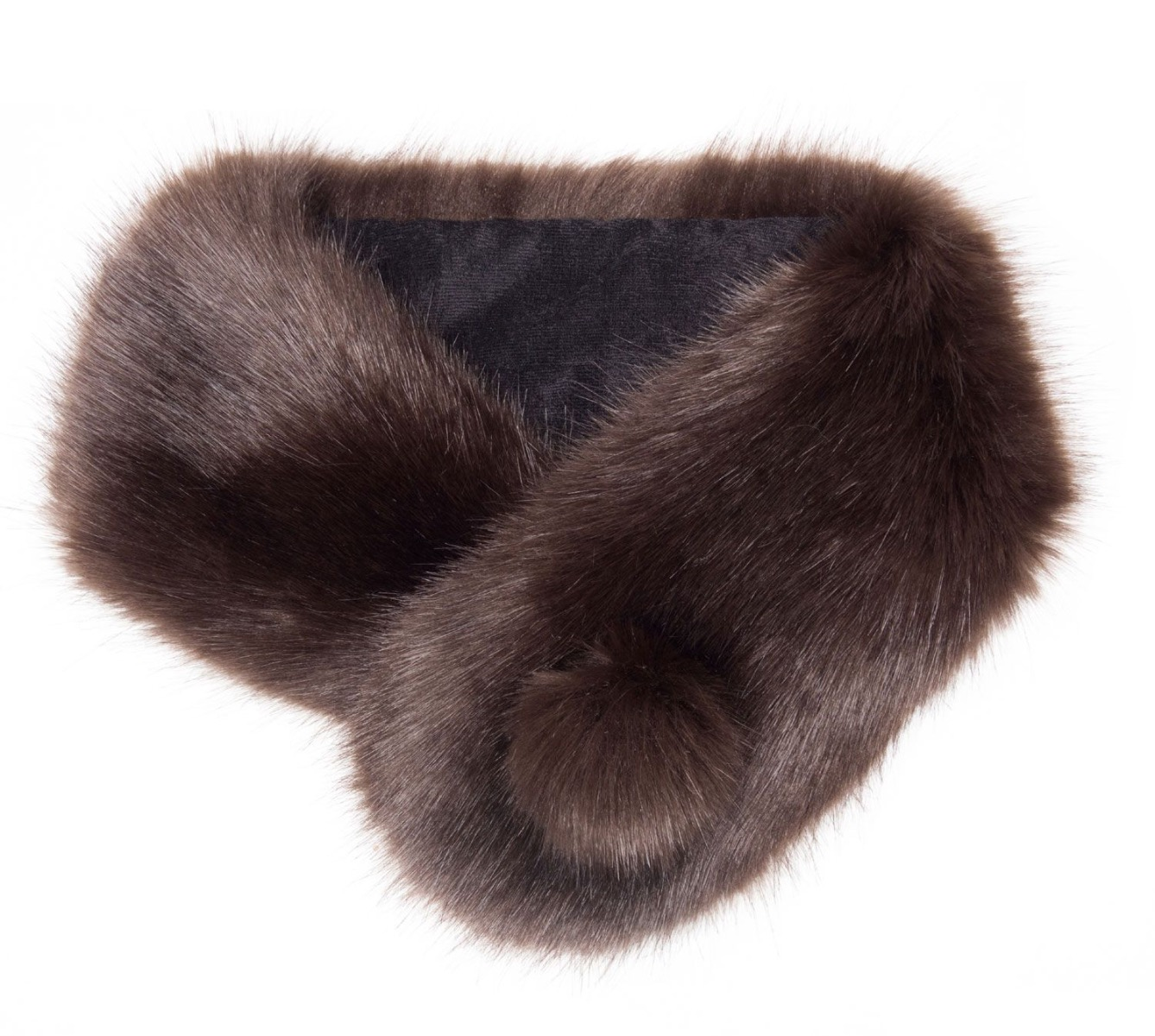 Our Faux Fur Pompom Button Collar Treacle in brown