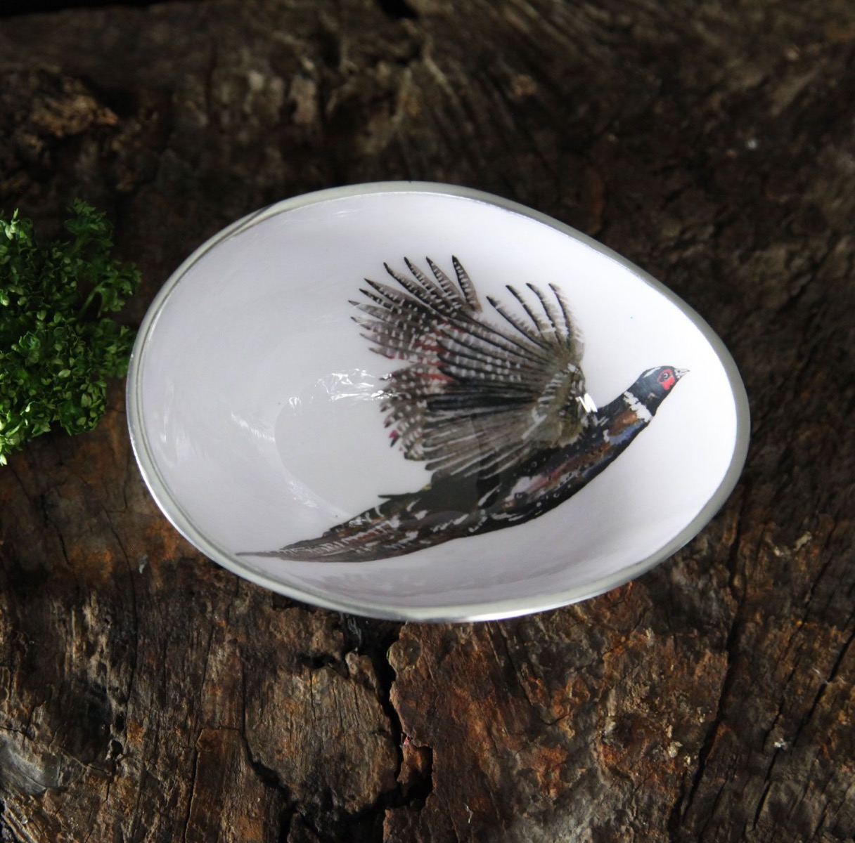 Our delicate Pheasant Trinket/Olive Bowl