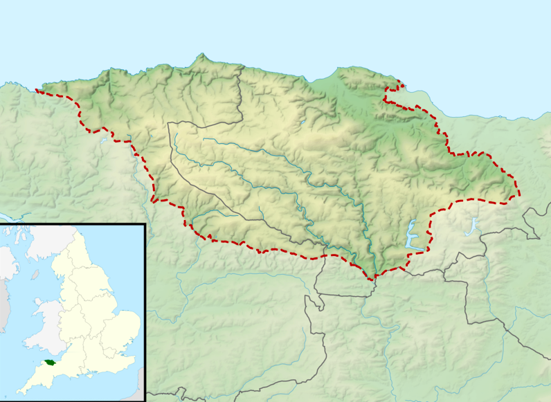 a map showing the exmoor national park