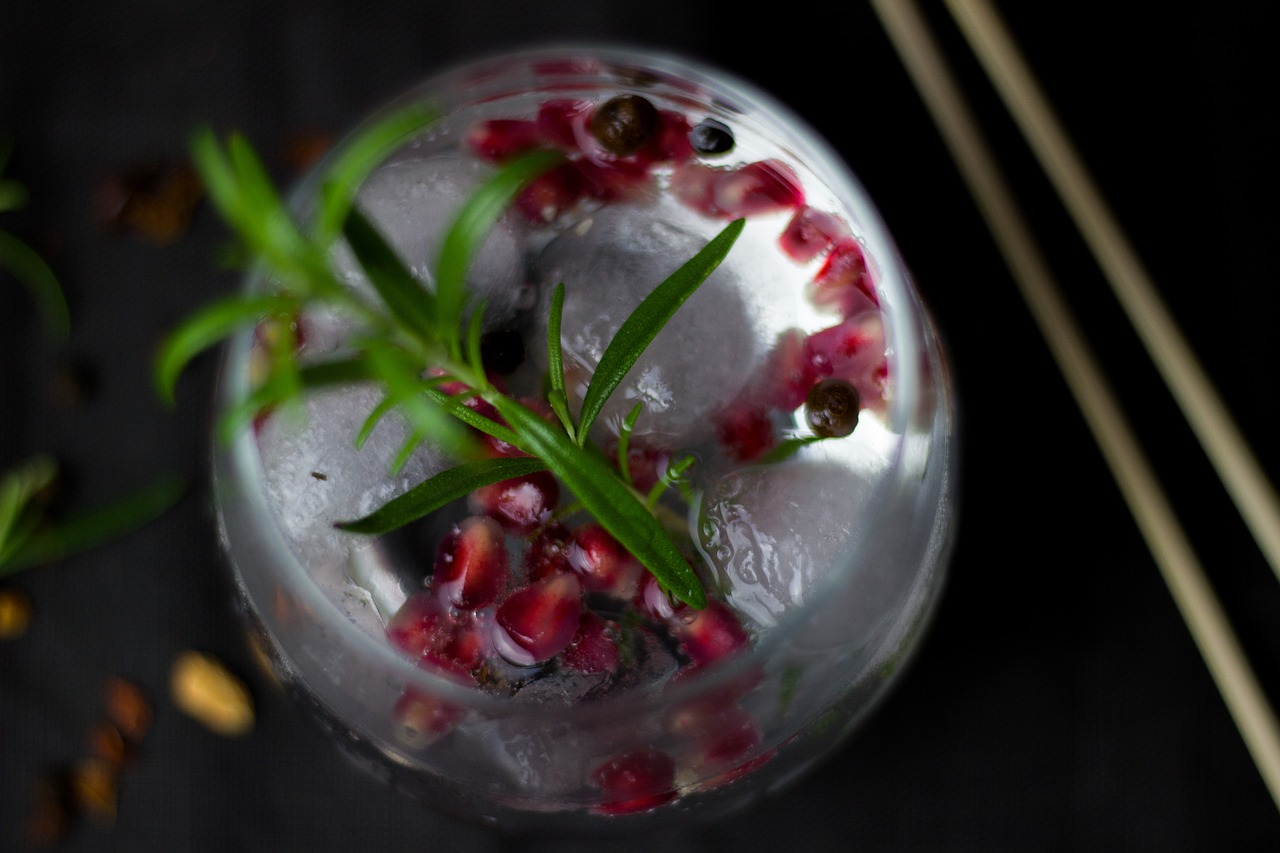 A glass of gin mixed with pomegranates and rosemary