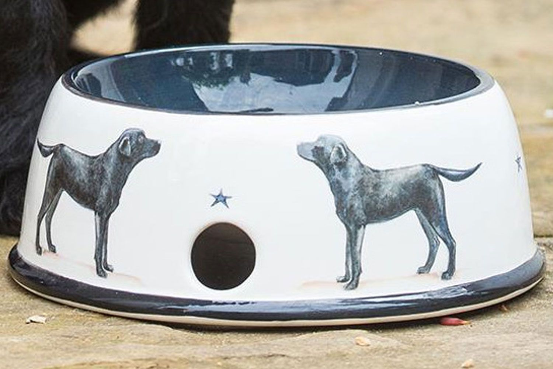 Our Labrador Pottery Dog Bowl on a concrete floor