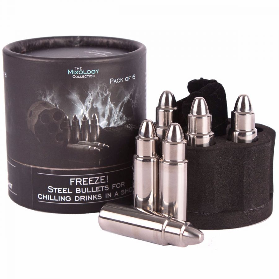 Steel bullet ice cube set for drinks