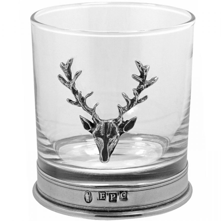 Stag head pewter and glass tumbler