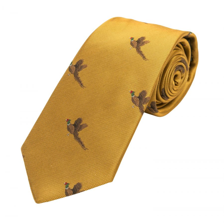 Woven silk tie in yellow