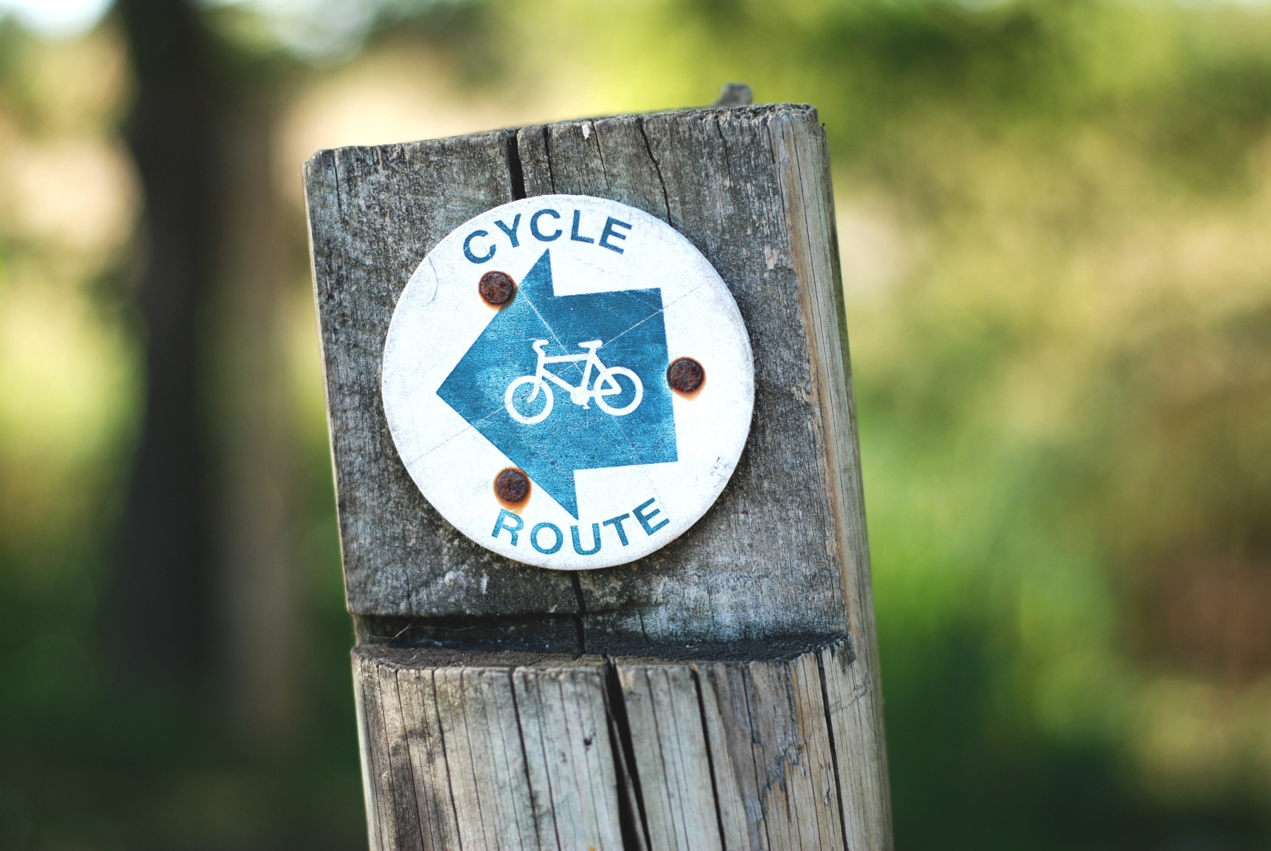 public sign for a cycle route