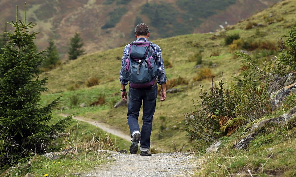 Person hiking in the countryside