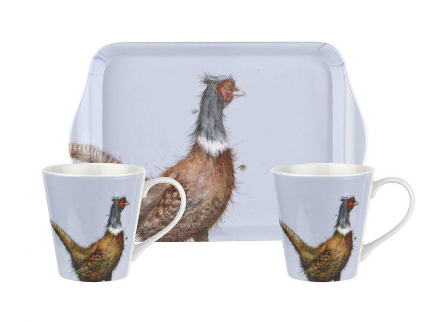 Pheasant mug and tray set
