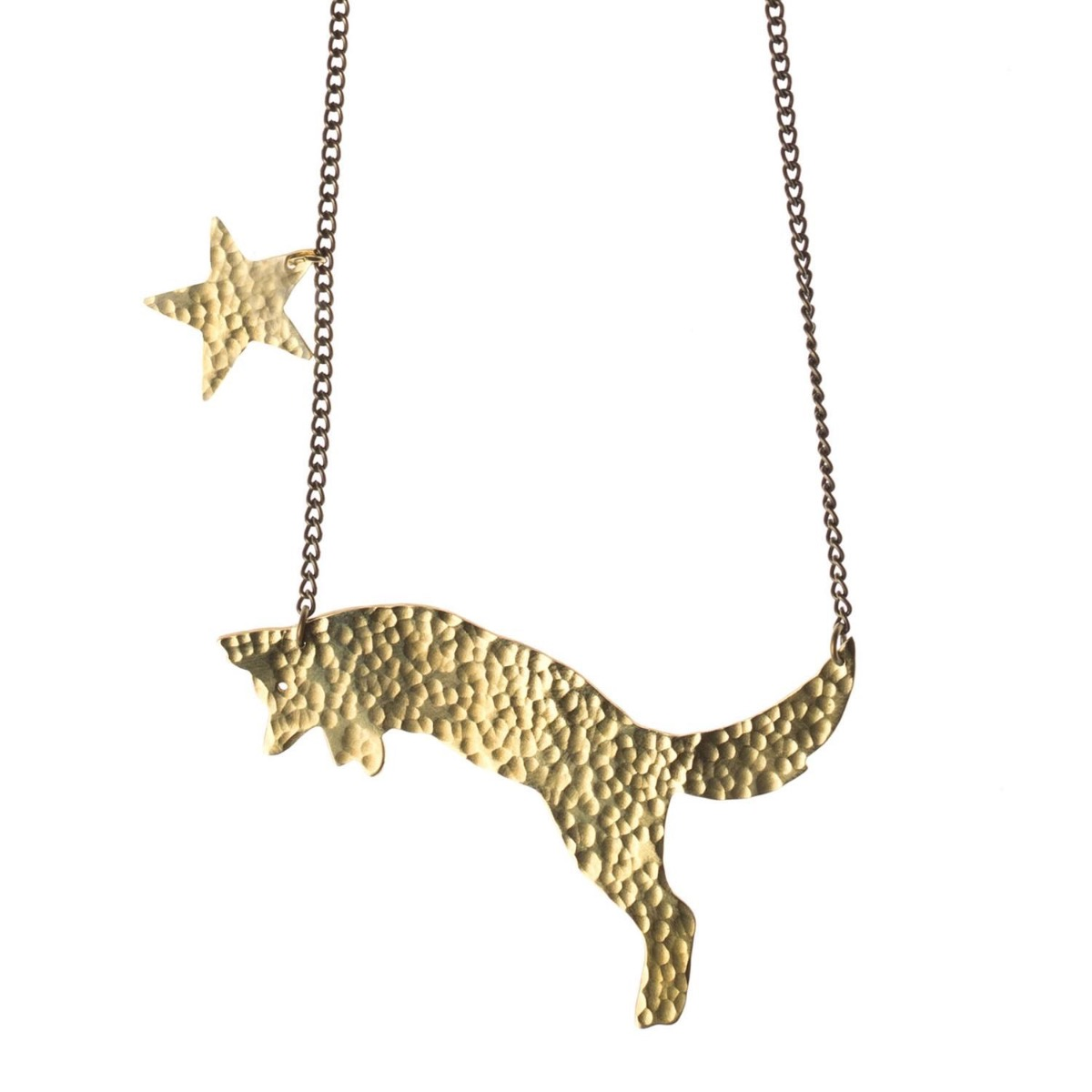 Our Foxy Necklace hand cut from a brass sheet